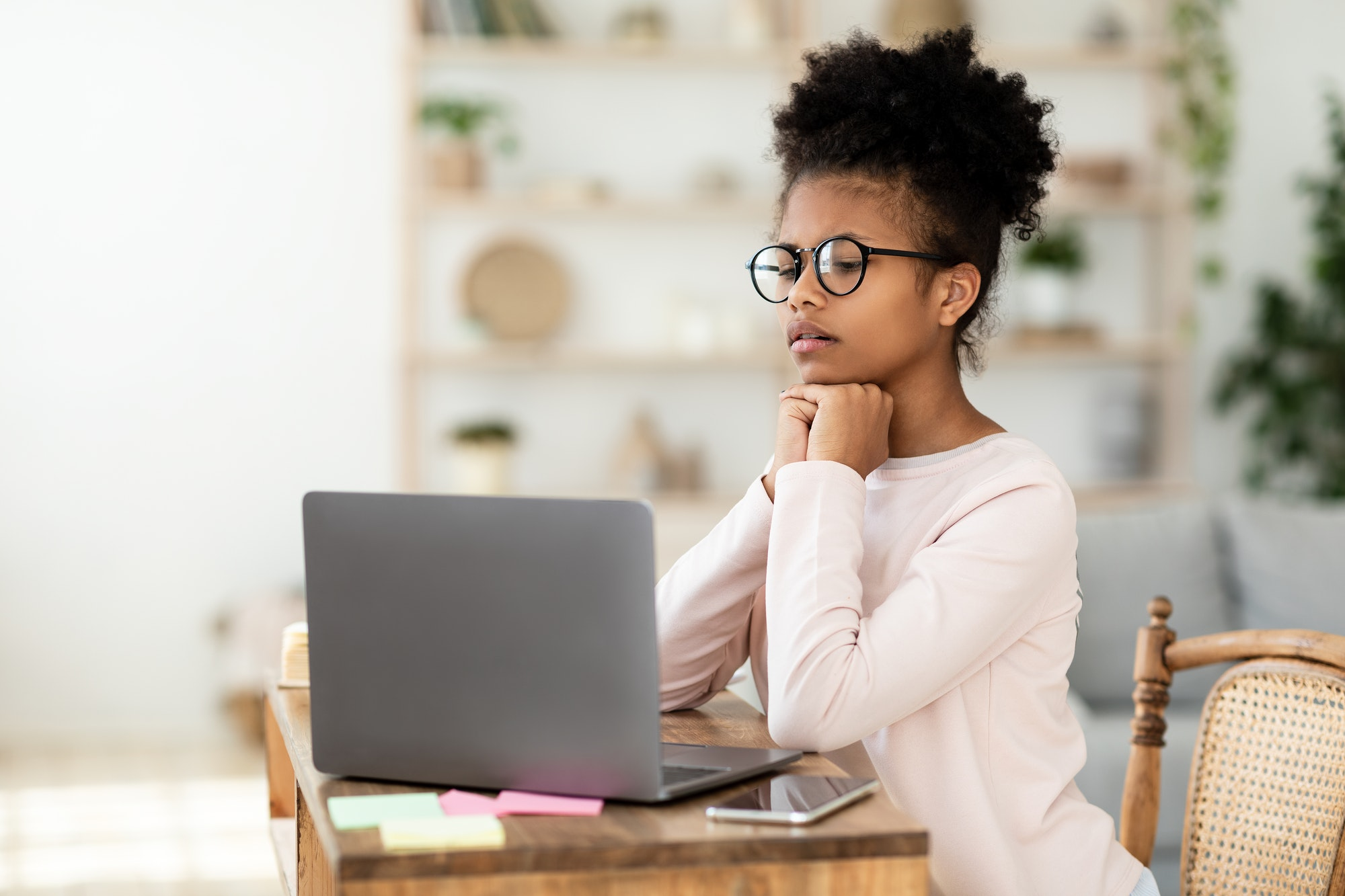 African School Girl At Laptop Having Online Lesson At Home